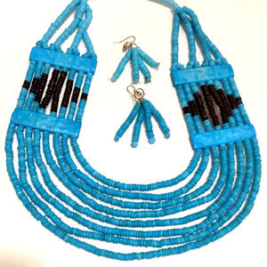 Ethnic Blue Bead Necklace Earrings Set New